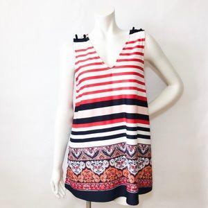 Tops - NEW Red White Blue Stripes Sleeveless V-neck Top